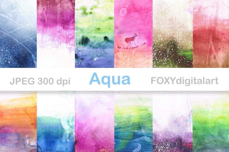 Watercolor Digital Papers Ombre Paint Splatters example image 1