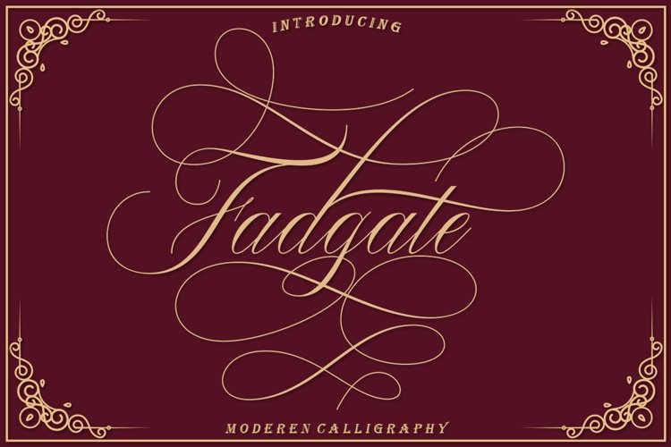 Fadgate - CALLIGRAPHY FONT example image 1
