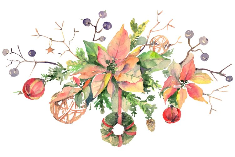 Christmas bouquet freezing day Watercolor png example image 1