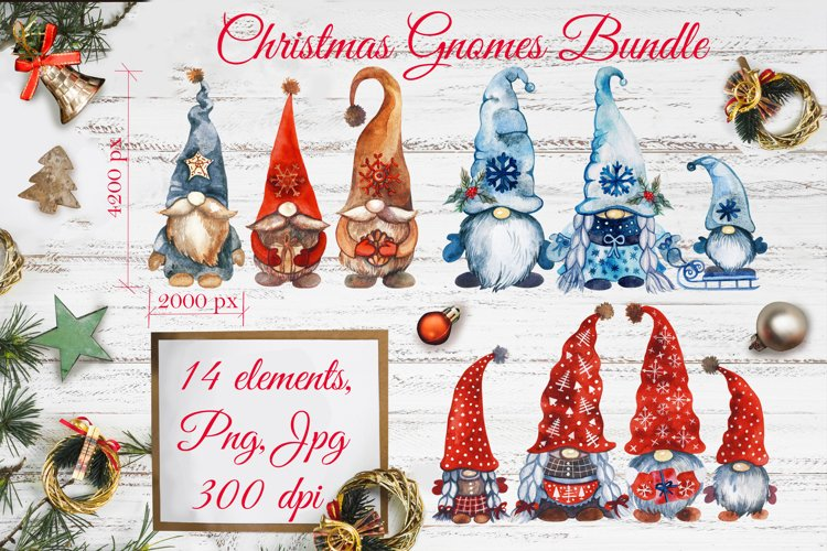 Christmas Gnomes. Watercolor Clipart. Christmas Clipart