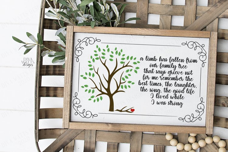 A Limb Has Fallen From Our Family Tree - Grief Loss SVG DXF