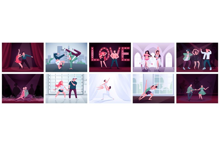 Couples dancing flat color vector illustrations set example image 1