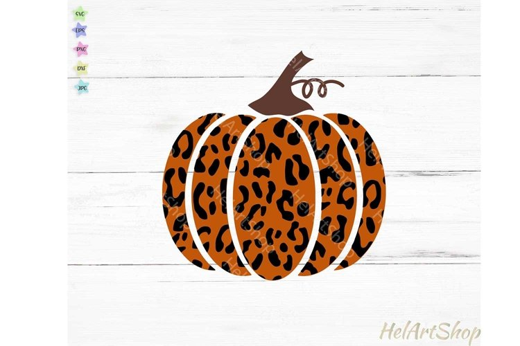 Leopard Print Pumpkin svg, Fall svg, Thanksgiving example image 1