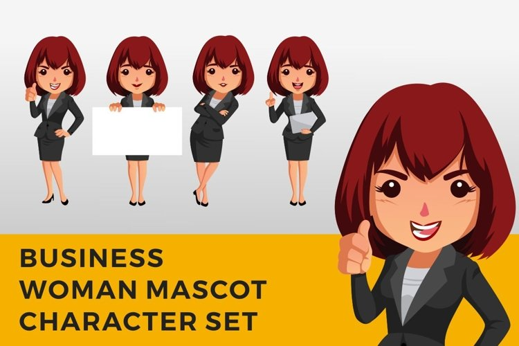 Business Woman Character Mascot Set example image 1