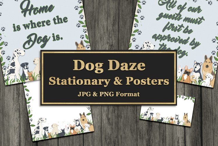 Dog Daze Printable Stationary and Posters example image 1