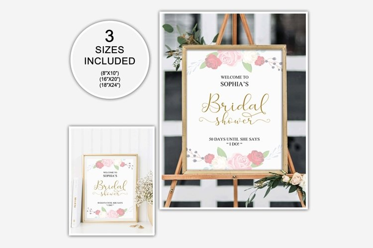 Gold welcome bridal shower sign, Welcome printable, DAD_24 example image 1