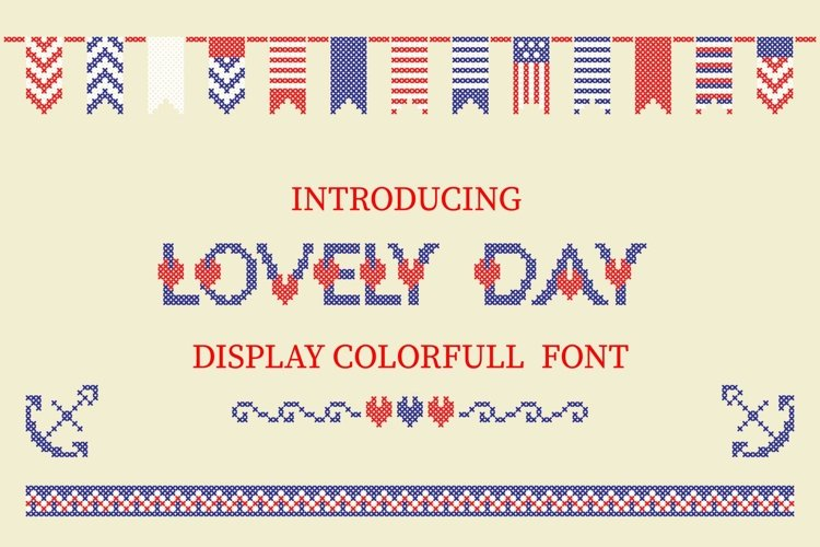 LOVELY-DAY-COLOR-CROSSSTICH OTF-SVG  multicolor font