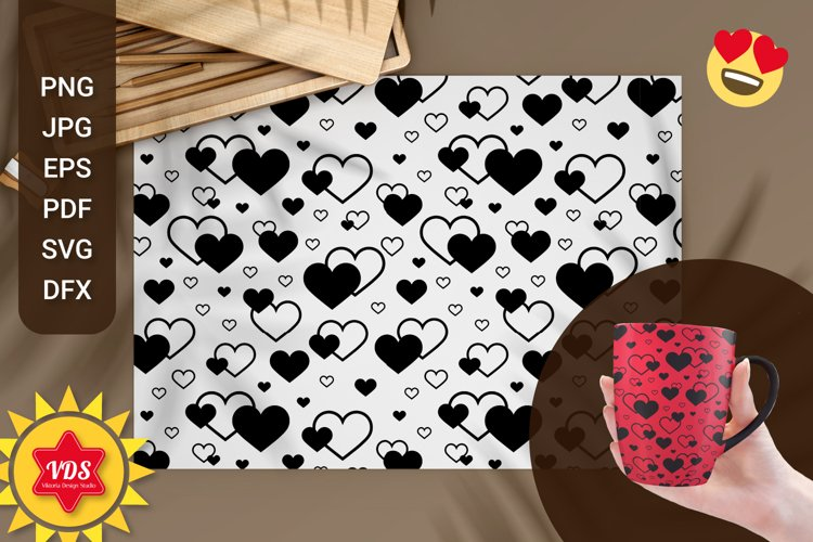 Seamless Patterns with Hearts. Valentines Day. With Love.