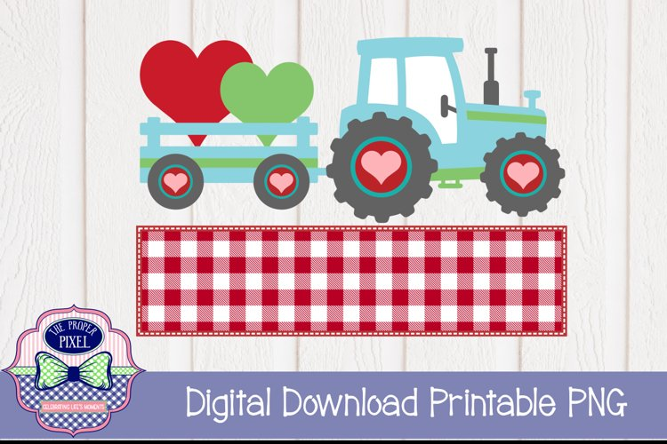 Tractor Valentine Design for boys, PNG sublimation download