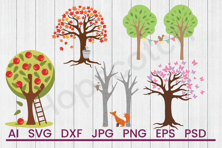 Trees SVG Bundle, DXF File, Cuttable File example image 1