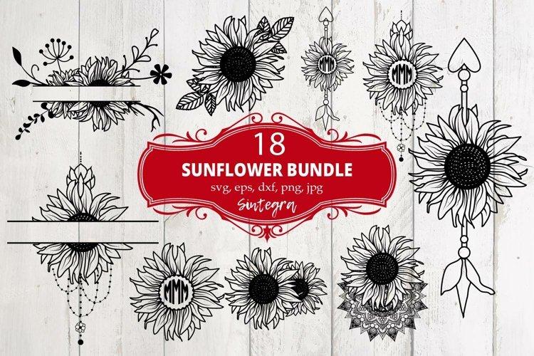 Sunflower 18 Monograms Bundle SVG File