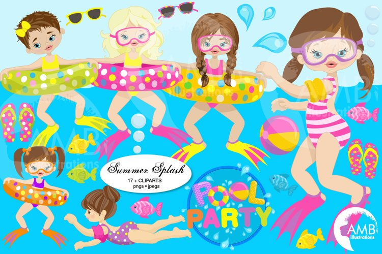 Pool party Mega clipart, graphics pack AMB-903B example image 1
