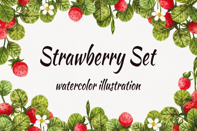 Watercolor strawberry, watercolor clipart with berries and l example image 1