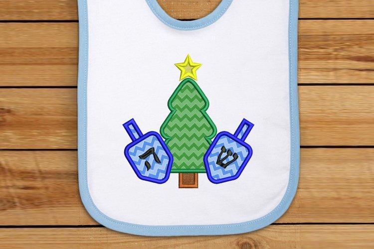 Christmas Tree and Hanukkah Dreidels Applique Embroidery example image 1