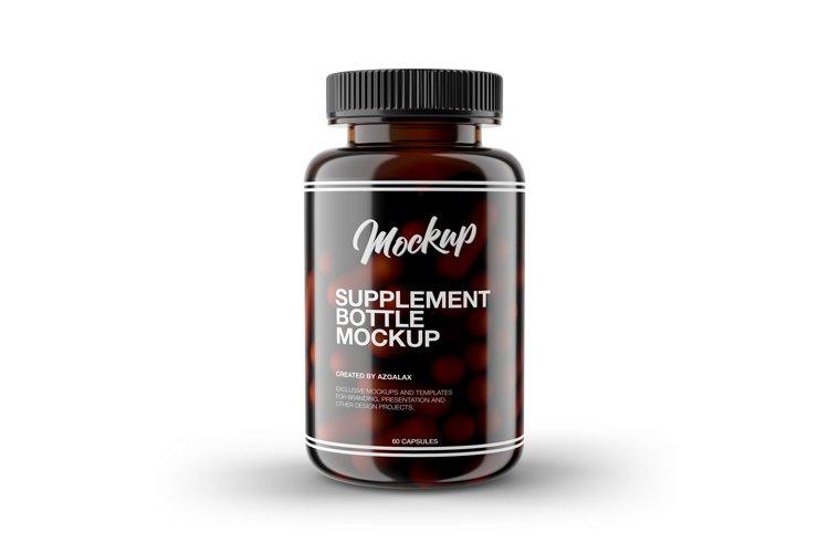 Supplement Bottle Mockup, Glossy Amber Color Plastic