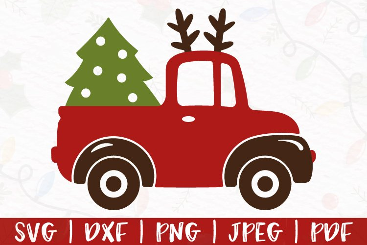 Reindeer truck svg, Christmas truck svg, Red truck svg, dxf example image 1