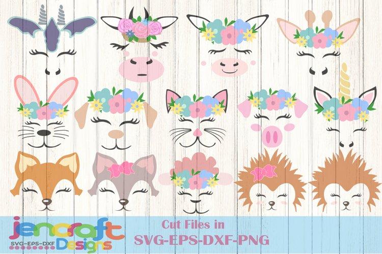 Cute Animal Faces Hedgehog, Fox, Giraffe, Cow, Cat, Dog SVG