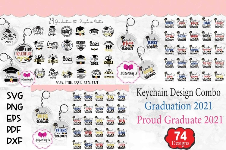 Graduation Keychain Combo|Proud Graduate 2021 Keychain example image 1