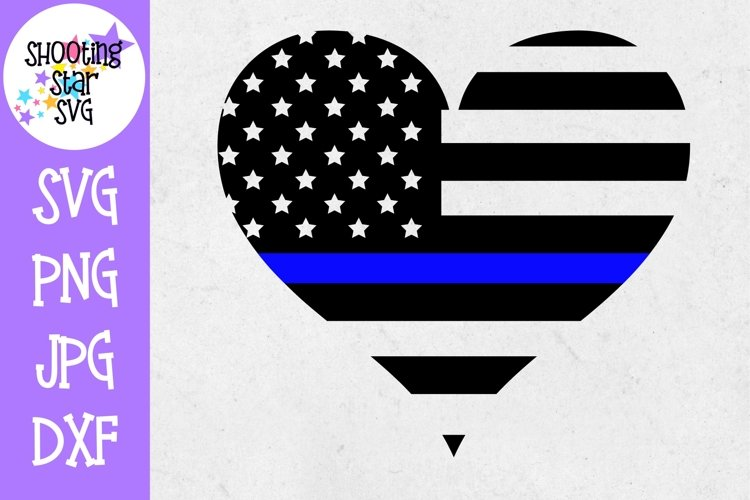 American Flag Heart - Thin Blue Line - Police Officer SVG example image 1