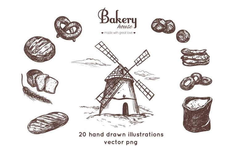 Bakery and bread vintage hand drawn collection example image 1