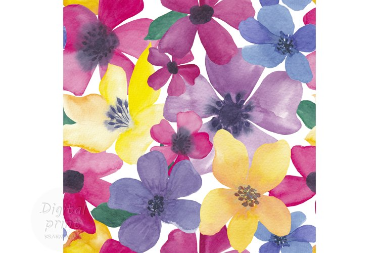Watercolor colorful flowers seamless pattern Digital paper example image 1