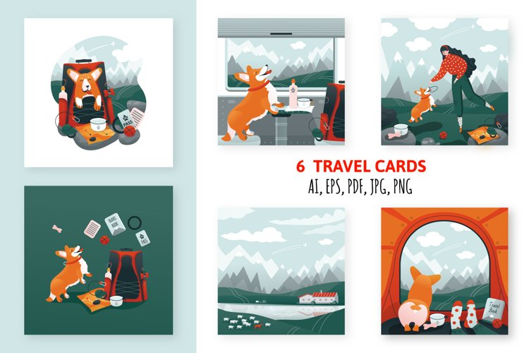 Collection of travel cards. Woman and corgi dog in nature.