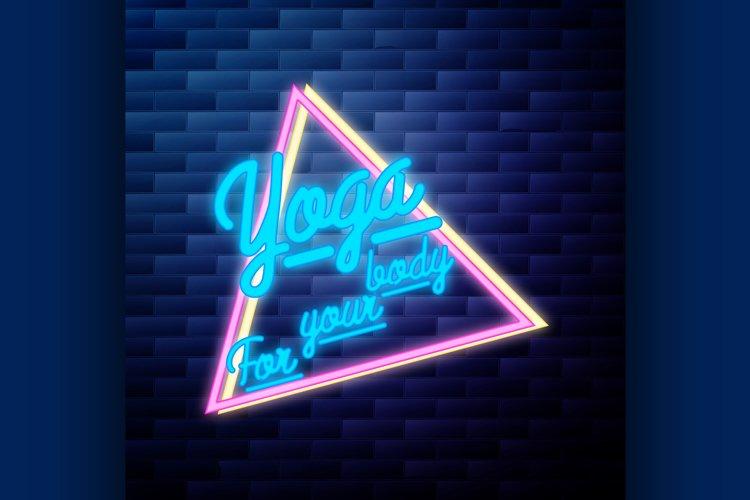 Vintage yoga emblem glowing neon sign example image 1