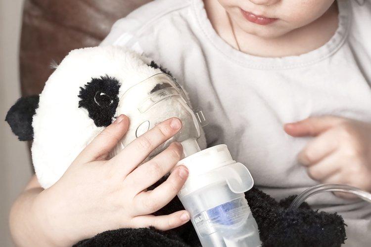Girl makes inhalation nebulizer panda toy at home example image 1