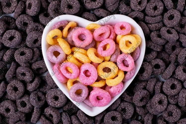 Multicolored and black cereal loops. Three products in one
