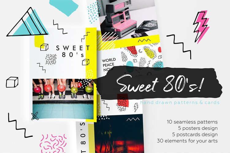 Sweet 80's! Vintage hand drawn patterns collection example image 1