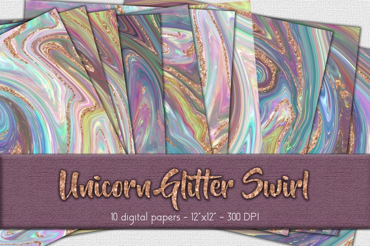 Unicorn Glitter Swirl Digital Paper Set example image 1