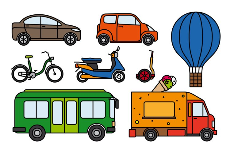 City transport flat linear icons set example image 1