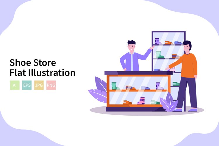 Shoe Store Vector Illustration In Flat Modern Style example image 1