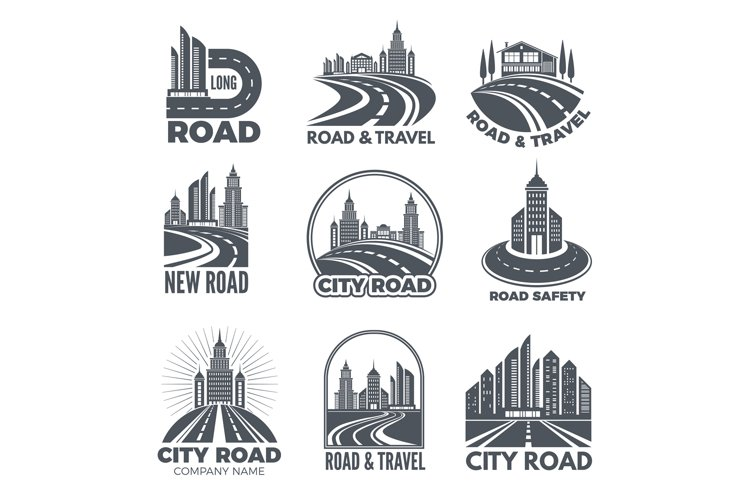 Logo designs with illustrations of roads and buildings example image 1