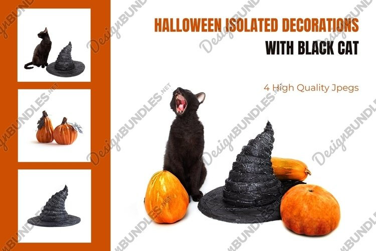 Halloween decorations bundle with black cat and witch hat example image 1