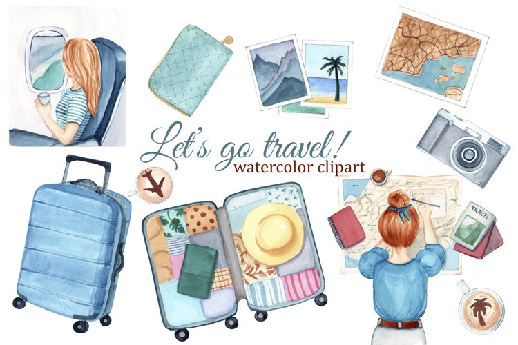 Travel girl watercolor clipart, fashion clipart, summer
