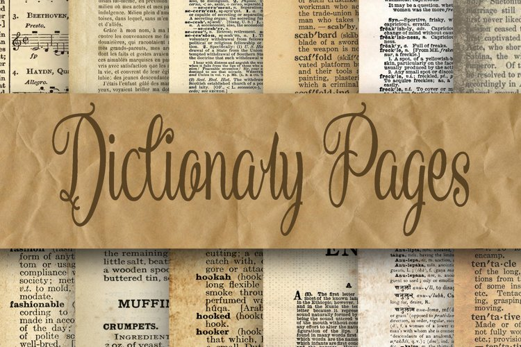 Dictionary Pages Digital Paper - 2 Sizes - 8.5x11 and 12x12 example image 1