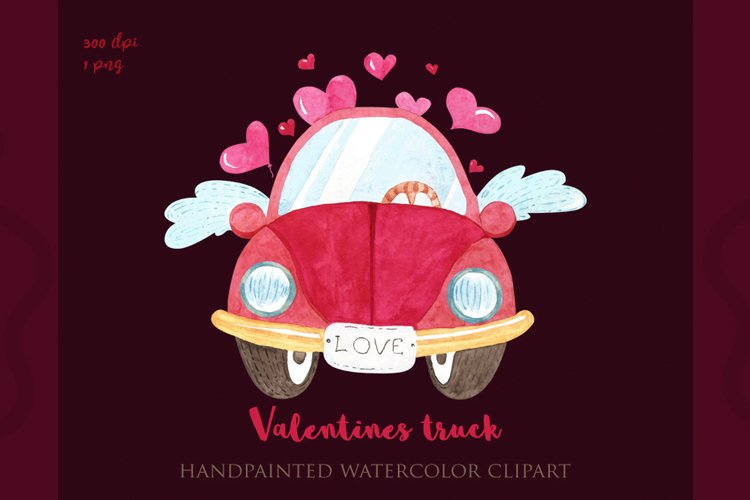 Valentines truck png, watercolor valentines day, sublimation example image 1