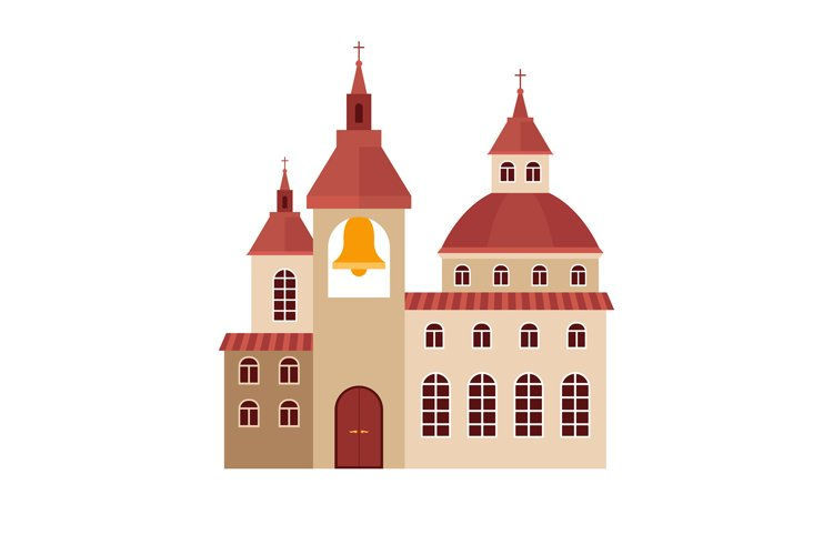 Chirch building flat colorful icon example image 1
