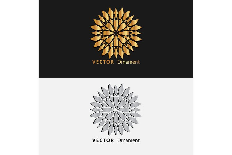 Vector design of gold and white gradient color mandala example image 1
