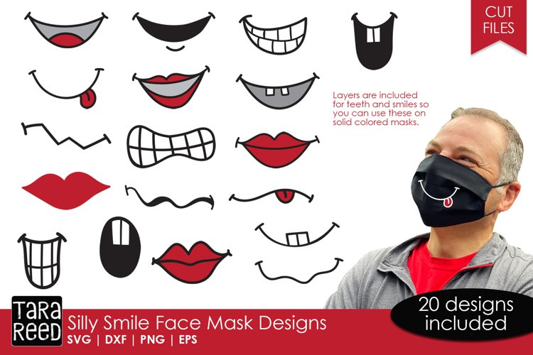 Silly Smile Face Mask Designs - SVG and Cut Files