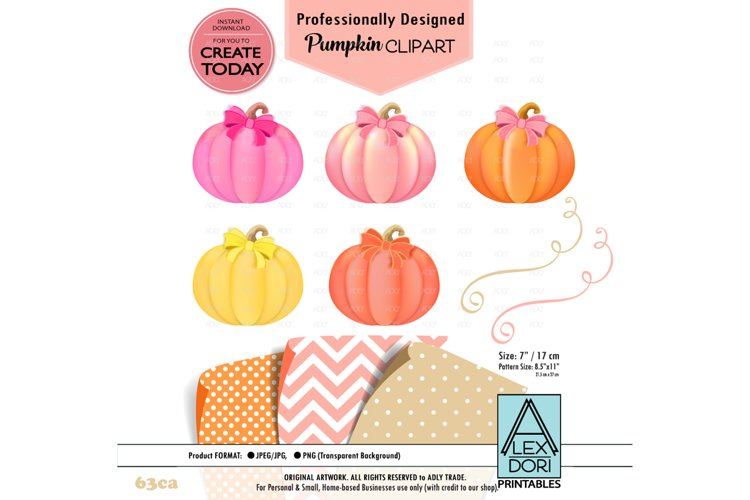 Girl Pumpkin bow Clipart example image 1