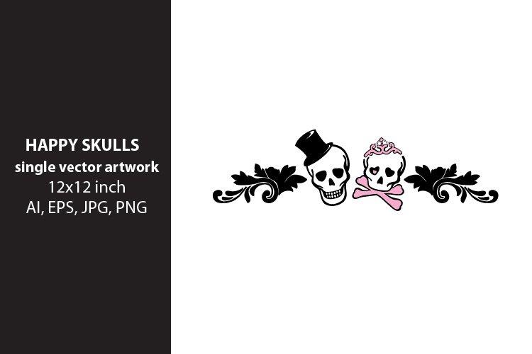 happy skulls frame , SINGLE VECTOR ARTWORK example image 1