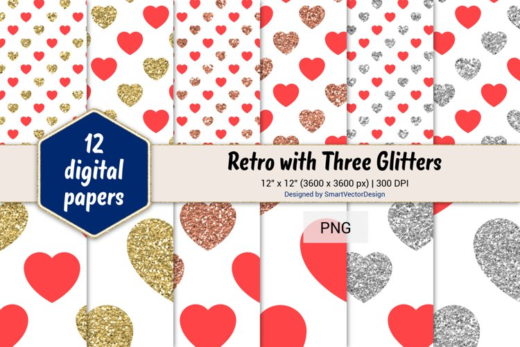 Hearts Retro with Three Glitters Color Combo #21 example image 1