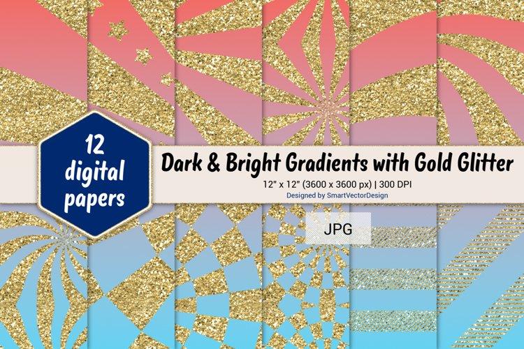 Sunburst & Hatch Stripes - Gradients with Gold Glitter #16