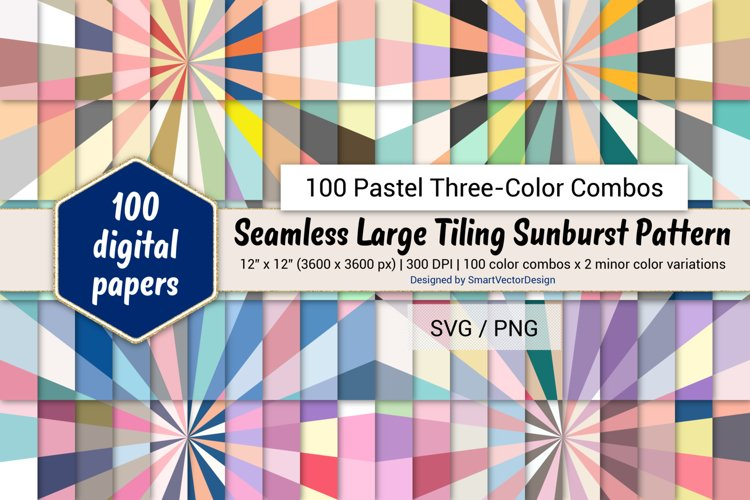 Seamless Large Tiling Sunburst-100 Pastel Three-Color Combos example image 1