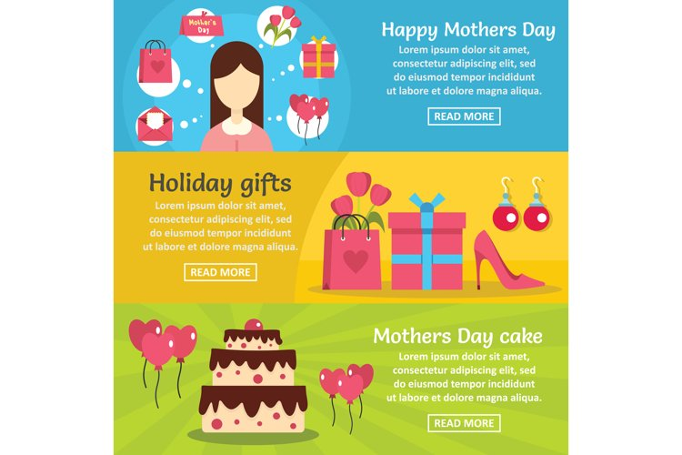 Mothers day banner horizontal set, flat style example image 1