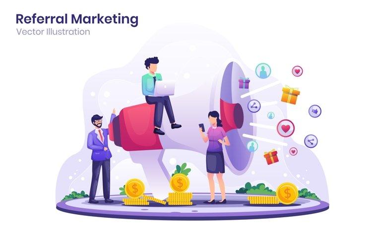 Referral Marketing concept flat illustration example image 1