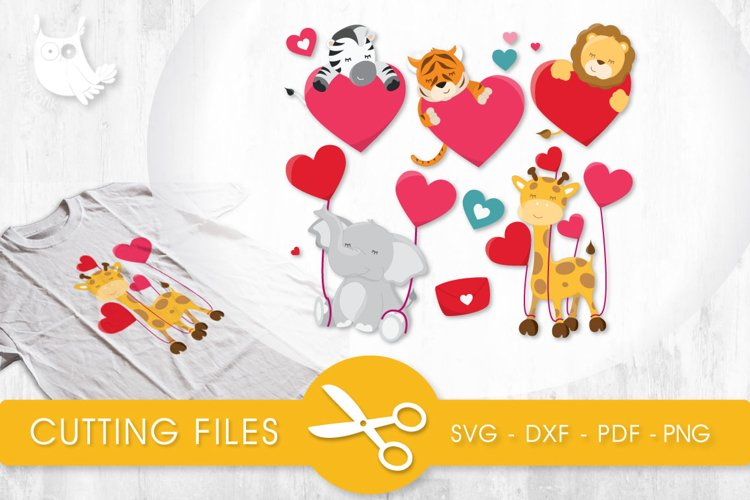 Valentine Animals cutting files svg, dxf, pdf, eps included - cut files for cricut and silhouette - Cutting Files SG example image 1