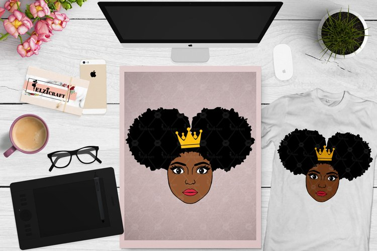 Afro Girl, Afro Puff, Afro Princess, Crown SVG Cut File